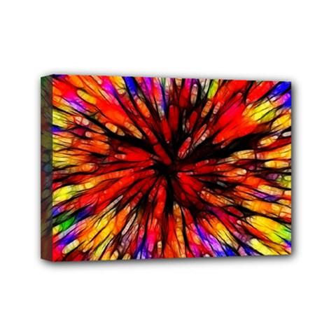 Color Batik Explosion Colorful Mini Canvas 7  X 5