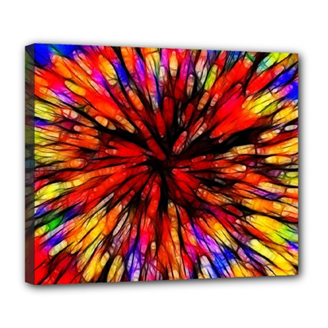 Color Batik Explosion Colorful Deluxe Canvas 24  x 20