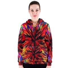 Color Batik Explosion Colorful Women s Zipper Hoodie