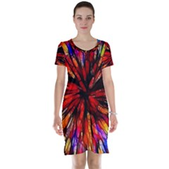 Color Batik Explosion Colorful Short Sleeve Nightdress