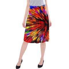 Color Batik Explosion Colorful Midi Beach Skirt