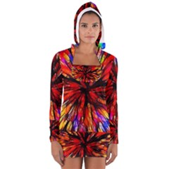 Color Batik Explosion Colorful Women s Long Sleeve Hooded T Shirt