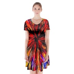 Color Batik Explosion Colorful Short Sleeve V Neck Flare Dress