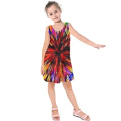 Color Batik Explosion Colorful Kids  Sleeveless Dress
