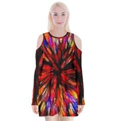 Color Batik Explosion Colorful Velvet Long Sleeve Shoulder Cutout Dress