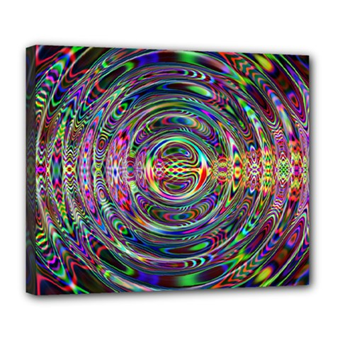 Wave Line Colorful Brush Particles Deluxe Canvas 24  X 20
