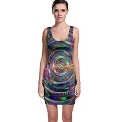 Wave Line Colorful Brush Particles Sleeveless Bodycon Dress