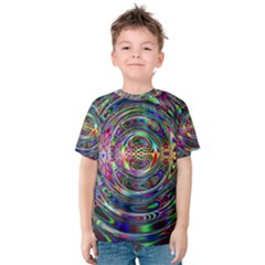 Wave Line Colorful Brush Particles Kids  Cotton Tee