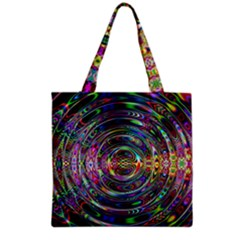 Wave Line Colorful Brush Particles Grocery Tote Bag