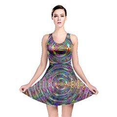Wave Line Colorful Brush Particles Reversible Skater Dress