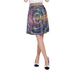 Wave Line Colorful Brush Particles A-Line Skirt