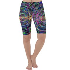 Wave Line Colorful Brush Particles Cropped Leggings