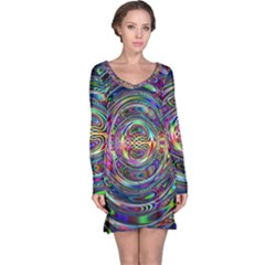 Wave Line Colorful Brush Particles Long Sleeve Nightdress