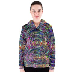 Wave Line Colorful Brush Particles Women s Zipper Hoodie
