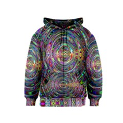 Wave Line Colorful Brush Particles Kids  Zipper Hoodie