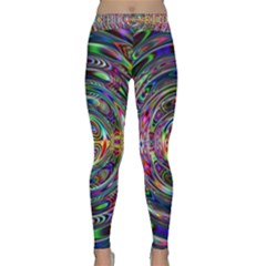 Wave Line Colorful Brush Particles Classic Yoga Leggings