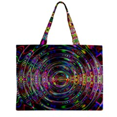 Wave Line Colorful Brush Particles Zipper Mini Tote Bag