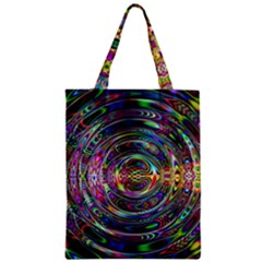 Wave Line Colorful Brush Particles Zipper Classic Tote Bag
