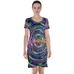 Wave Line Colorful Brush Particles Short Sleeve Nightdress