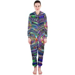 Wave Line Colorful Brush Particles Hooded Jumpsuit (ladies)