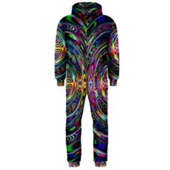 Wave Line Colorful Brush Particles Hooded Jumpsuit (men)