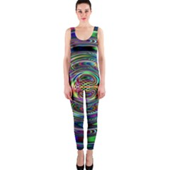 Wave Line Colorful Brush Particles Onepiece Catsuit