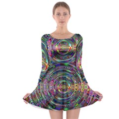 Wave Line Colorful Brush Particles Long Sleeve Skater Dress