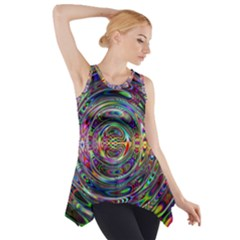 Wave Line Colorful Brush Particles Side Drop Tank Tunic