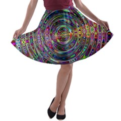 Wave Line Colorful Brush Particles A Line Skater Skirt