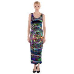 Wave Line Colorful Brush Particles Fitted Maxi Dress
