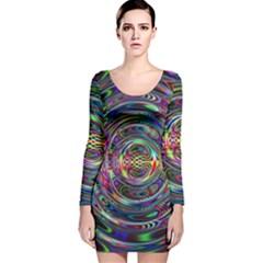 Wave Line Colorful Brush Particles Long Sleeve Velvet Bodycon Dress
