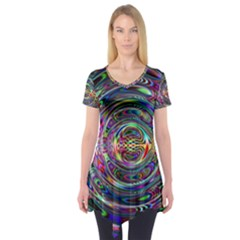 Wave Line Colorful Brush Particles Short Sleeve Tunic
