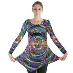 Wave Line Colorful Brush Particles Long Sleeve Tunic