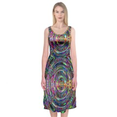 Wave Line Colorful Brush Particles Midi Sleeveless Dress