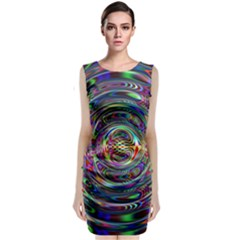 Wave Line Colorful Brush Particles Classic Sleeveless Midi Dress