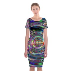 Wave Line Colorful Brush Particles Classic Short Sleeve Midi Dress
