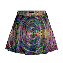 Wave Line Colorful Brush Particles Mini Flare Skirt
