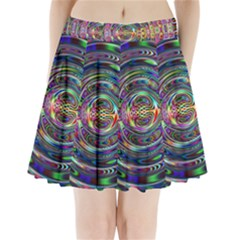 Wave Line Colorful Brush Particles Pleated Mini Skirt