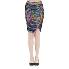 Wave Line Colorful Brush Particles Midi Wrap Pencil Skirt