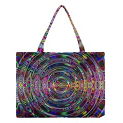 Wave Line Colorful Brush Particles Medium Tote Bag