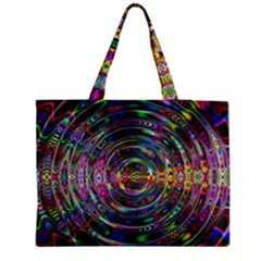 Wave Line Colorful Brush Particles Medium Zipper Tote Bag