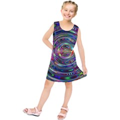 Wave Line Colorful Brush Particles Kids  Tunic Dress