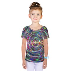 Wave Line Colorful Brush Particles Kids  One Piece Tee