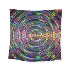 Wave Line Colorful Brush Particles Square Tapestry (small)