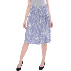 Floral Gray Springtime Flower Midi Beach Skirt