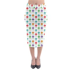 Flower Floral Sunflower Pink Blur Purple Yellow Green Midi Pencil Skirt