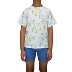 Flower Arrangements Season Sunflower Kids  Short Sleeve Swimwear
