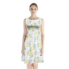Flower Arrangements Season Sunflower Sleeveless Chiffon Waist Tie Dress