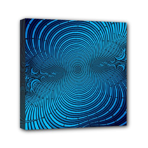 Abstract Fractal Blue Background Mini Canvas 6  X 6