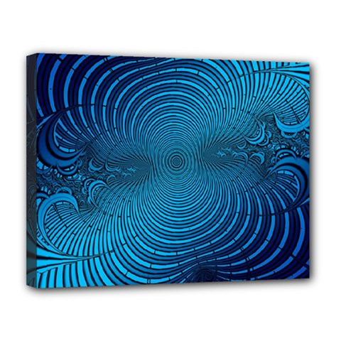 Abstract Fractal Blue Background Canvas 14  X 11